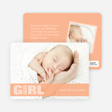 Color Stripe Photo Announcement: Girl - Orange