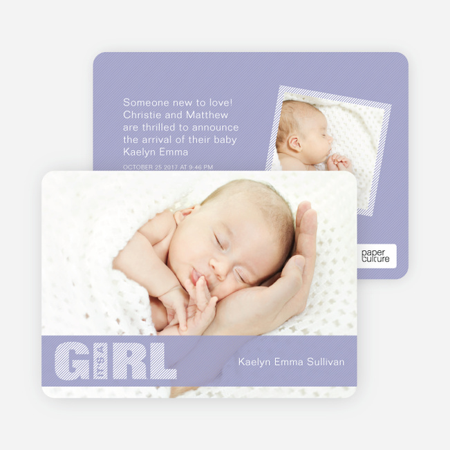 Photo Baby Announcements: Color Stripes for Girls - Purple