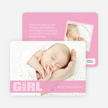 Color Stripe Photo Announcement: Girl - Pink