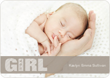 Color Stripe Photo Announcement: Girl - Grey