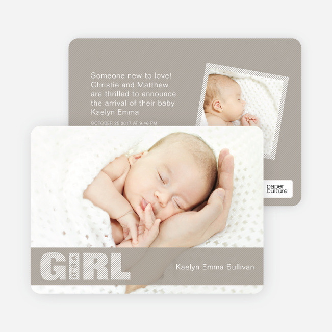 Photo Baby Announcements: Color Stripes for Girls - Grey