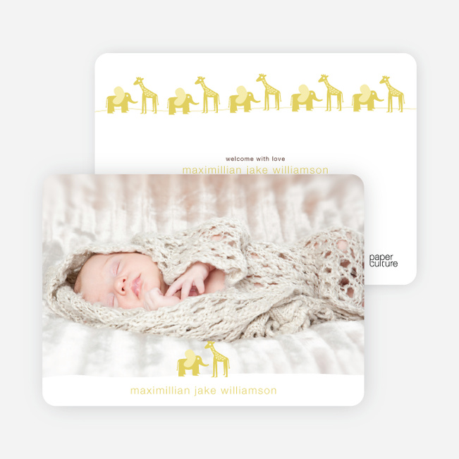 Jungle Fun Baby Announcement - Mustard