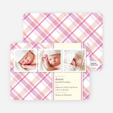 Mad Plaid Multi Photo Birth Announcements - Cotton Candy