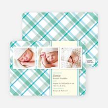 Mad Plaid Multi Photo Birth Announcements - Aquamarine