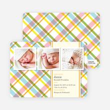 Mad Plaid Multi Photo Birth Announcements - Asparagus