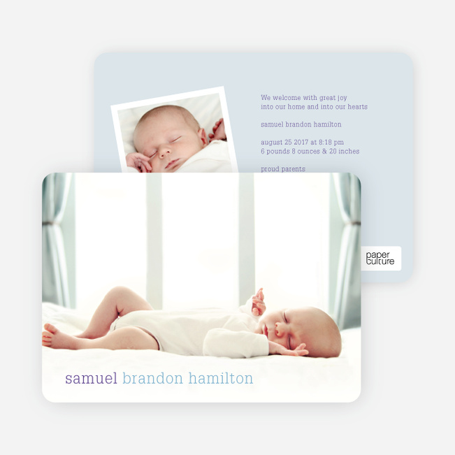 Photo Birth Announcements with Modern Text - Blue Breeze