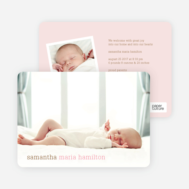 Photo Birth Announcements with Modern Text - Strawberry Yogurt