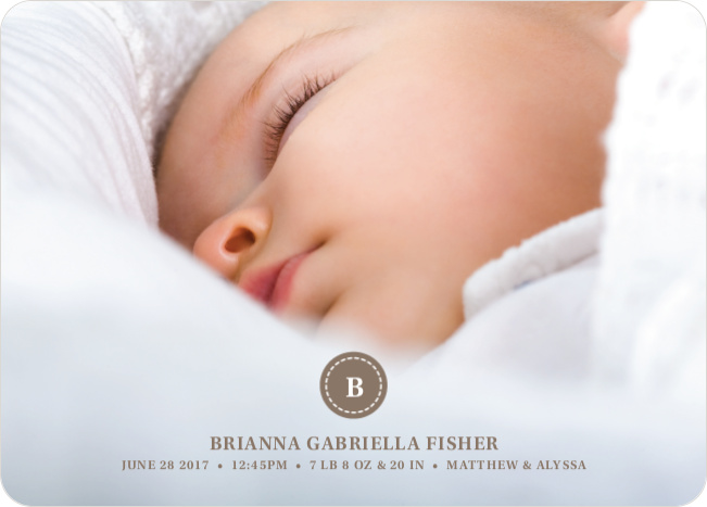 Monogram Circle Birth Announcements - Truffle