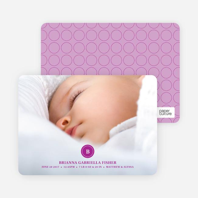 Monogram Circle Birth Announcements - Lavender Love