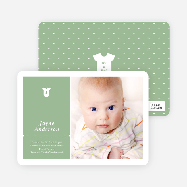 Onesie Tag Fresh Birth Announcements - Greesie