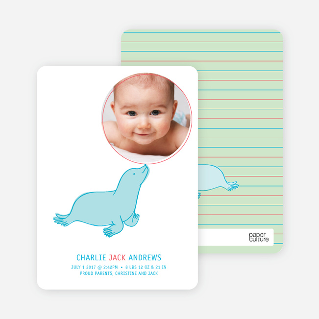 Sammie the Seal Photo Birth Announcements - Celery