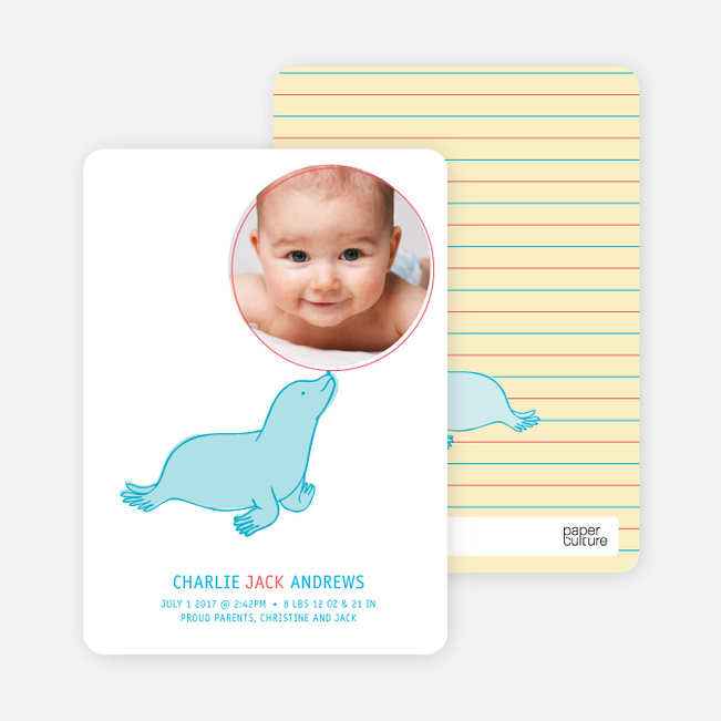 Sammie the Seal Photo Birth Announcements - Buttercup