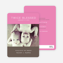 Twice Blessed Twin Announcements - Shocking Pink