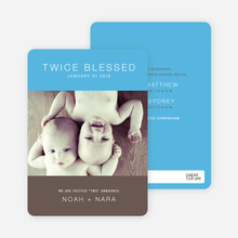 Twice Blessed Twin Announcements - Cornflower