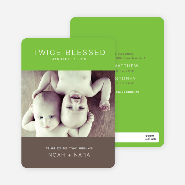 Twice Blessed Twin Announcements - Apple Green