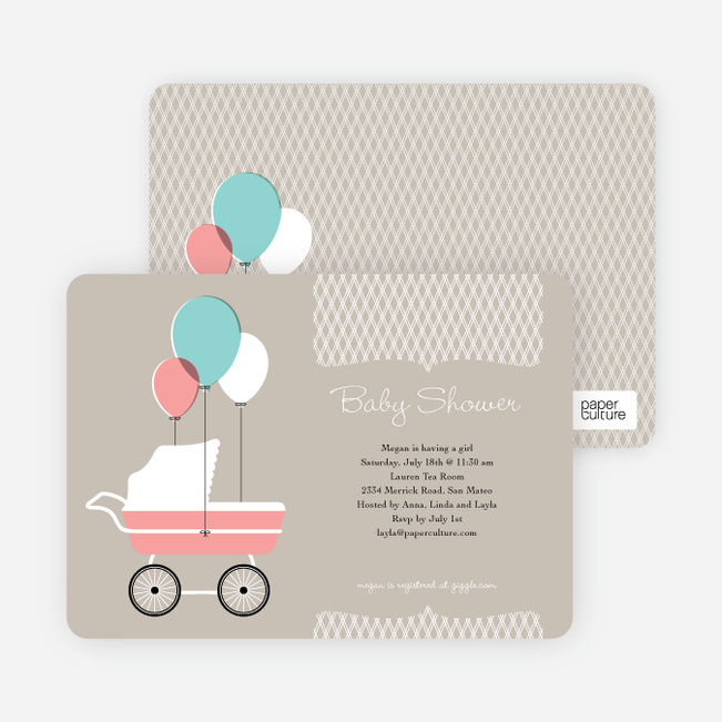 Vintage Stroller Baby Shower Invitations - Grey Gravey