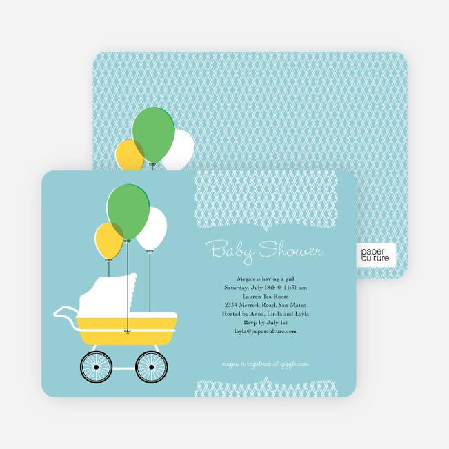 Vintage Stroller Baby Shower Invitations - Blue Bubbles