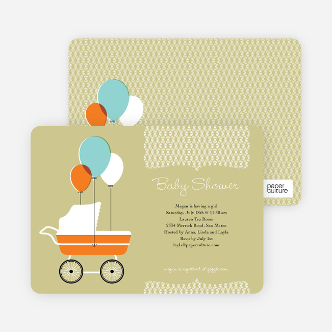 Vintage Stroller Baby Shower Invitations - Artichokey