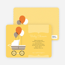 Vintage Stroller Baby Shower Invitations - Yellow Zucchini