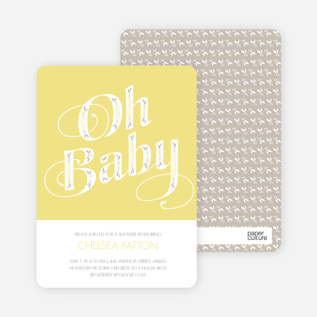 Oh Baby Shower Invitations - Yellow