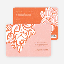 Vintage Flower Bouquet Bridal Shower Invitations - Orange
