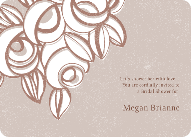 Vintage Flower Bouquet Bridal Shower Invitations - Brown