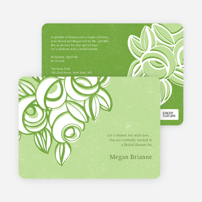 Vintage Flower Bouquet Bridal Shower Invitations - Green