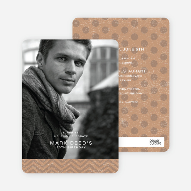 Vintage Pattern, Charming Party Invitations - Brown