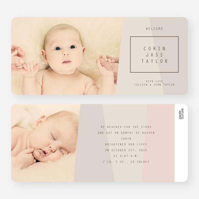 Angular Blocks Birth Announcements - Beige