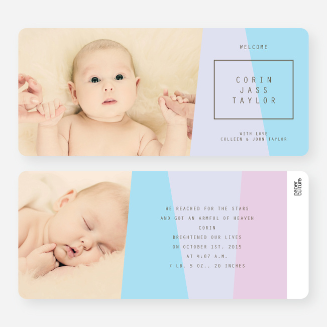 Angular Blocks Birth Announcements - Purple