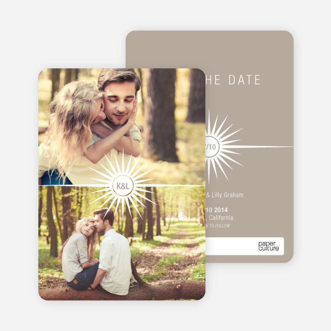 Burst of Joy Save the Date Cards - Beige