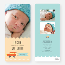 Car Themed Birth Announcements - Orange