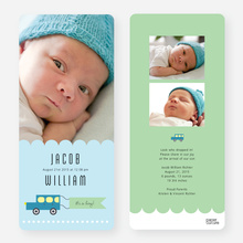 Car Themed Birth Announcements - Blue