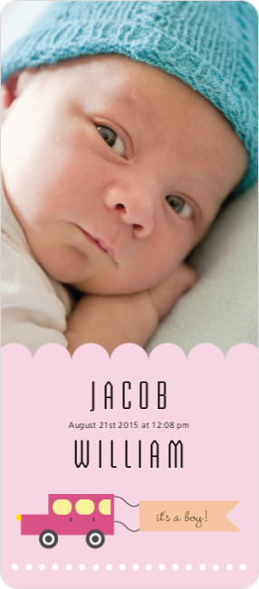 Car Themed Birth Announcements - Pink