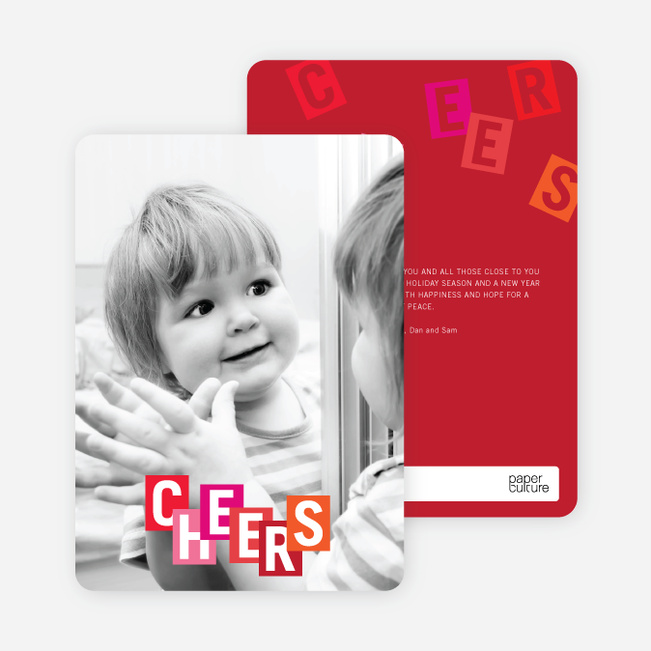 Cheers: Kids and Scrabble Holiday Cards - Red
