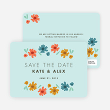 Chic Floral Save the Date Cards - Blue