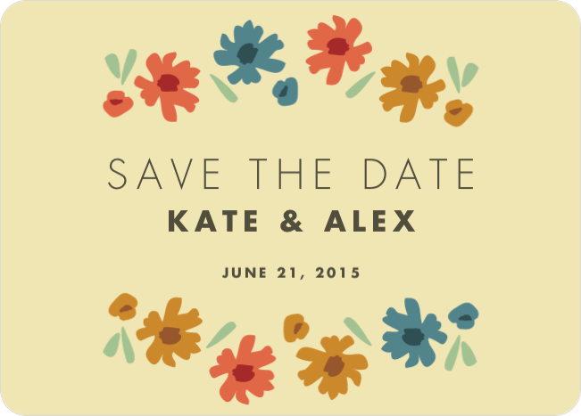 Chic Floral Save the Date Cards - Yellow