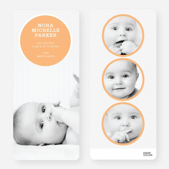 Birth Announcements: Circle Theme - Orange