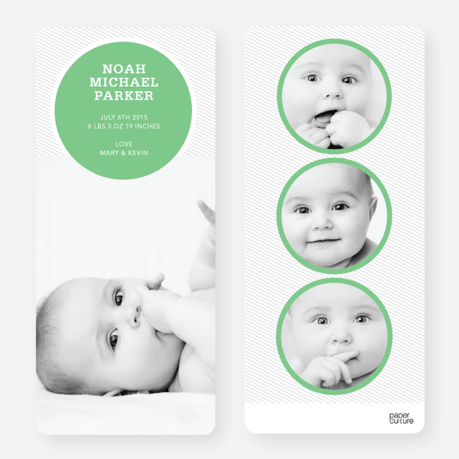 Birth Announcements: Circle Theme - Green
