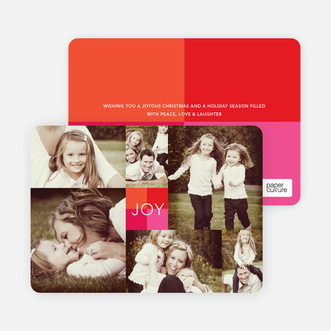 Multi Photo Holiday Cards: Collage of Joy - Pink