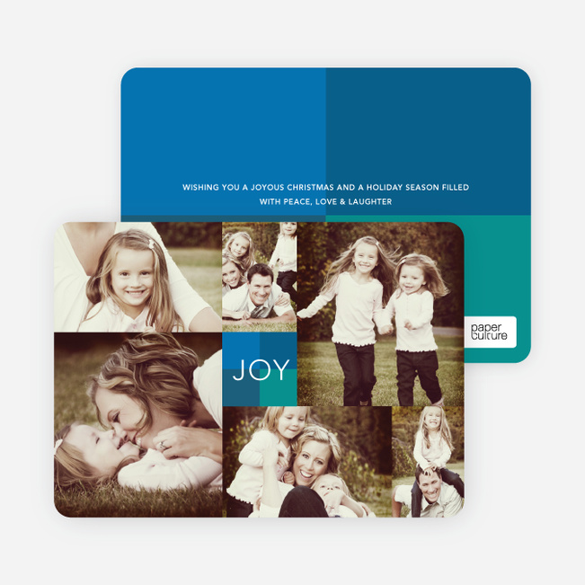 Multi Photo Holiday Cards: Collage of Joy - Blue