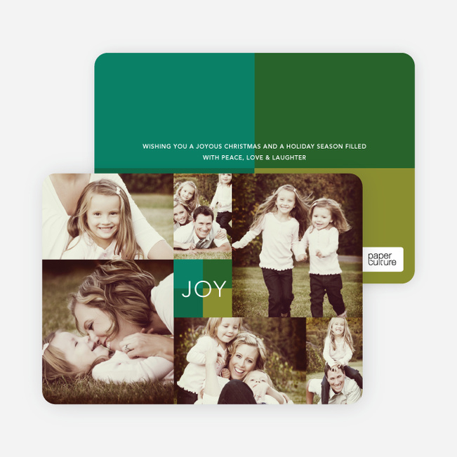 Collage of Joy Multi-Photo Holiday Cards - Green