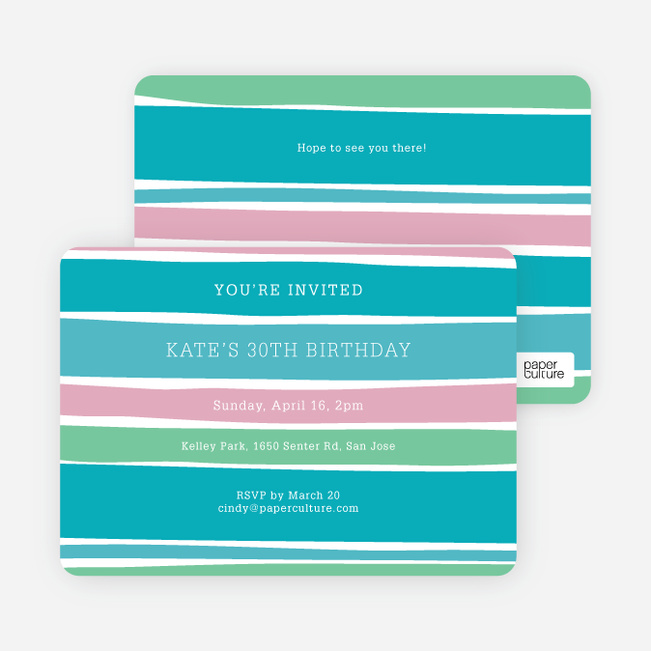 Color Stripe Party Invitations - Blue