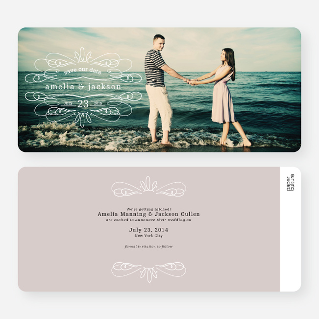 Flourish Save the Date Cards - Beige