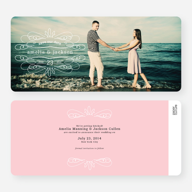 Flourish Save the Date Cards - Pink