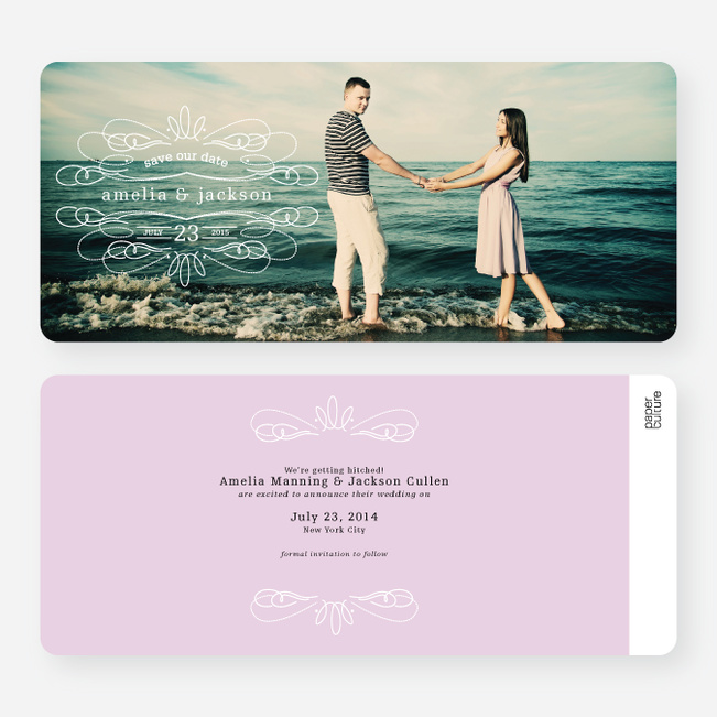 Flourish Save the Date Cards - Purple
