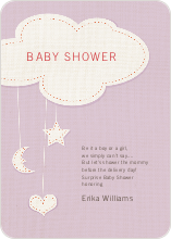 Handcrafted Mobile Baby Shower Invitations - Purple
