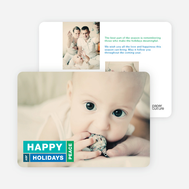 Happy Holidays, Joy and Peace Holiday Cards - Blue