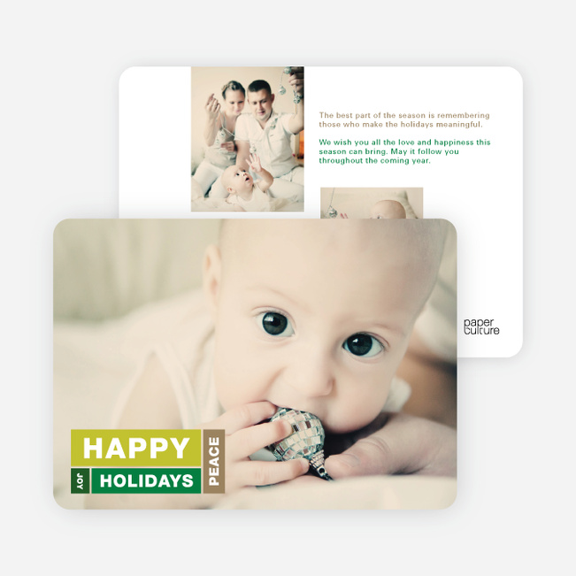 Happy Holidays, Joy and Peace Holiday Cards - Green
