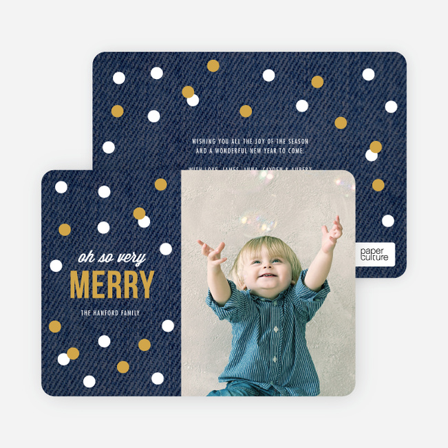 Holiday Card of Circles: Confetti, Ornaments or Snow? - Blue